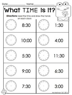 This was a nice complement for the younger brother (pre-k) so he didn't feel left out. February Printable Packet - Kindergarten Literacy and Math. Telling time by the hour Valentine's Day worksheet. Clock Worksheets, 2nd Grade Math Worksheets, School Worksheets, 1st Grade Math, Worksheets For Kids, Easter Worksheets, Matching Worksheets, Second Grade, Homeschool Kindergarten