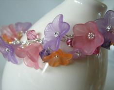 Lucite Flower Charm Bracelet Brown & Pink on Sterling Silver