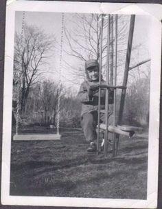 Vintage Photo Cute Boy on Glider Swing Set Trees Nice | eBay