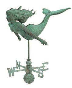 Antique Polished Mermaid Weathervane