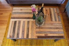 Reclaimed Pallet And Barn Wood Coffee Table With Steel Legs - Custom Crux