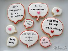 Valentine Speech Bubble by Melissa Joy Cookies
