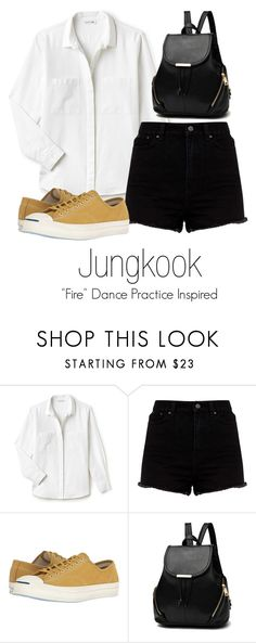 """Jungkook's ""Fire"" Dance Practice Inspired Outfit"" by mochimchimus on Polyvore featuring Lacoste and Converse"
