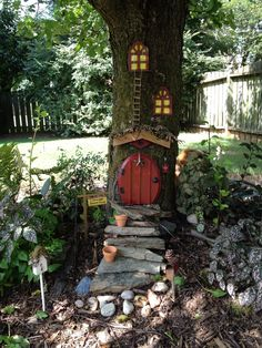 Fairy Tree Houses, Fairy Garden Houses, Gnome Garden, Garden Paths, Garden Art, Fairies Garden, Garden Types, Fairy Village, Mini Fairy Garden