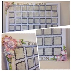 Wedding Guest List Board with paper flowers, bling, pearls !