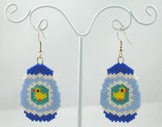 Beaded Easter Egg with a Tiny Chick Earrings - Easter Jewelry