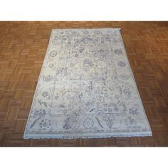 Oushak Ivory Silk-blend Hand-knotted Rug