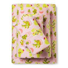 Festive Cactus Flannel Sheet Set - Pillowfort™ : Target