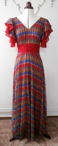 Vintage Late 1970 s Red, Green, Blue & Yellow Long Maxi Evening Dress UK Size 10