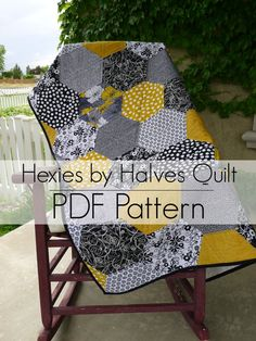 Hexies by Halves PDF Quilt Pattern - For BEGINNERS or Experienced Quilters