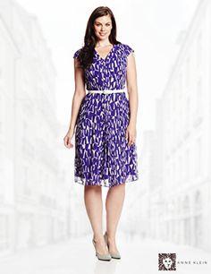 Anne Klein Women's Plus-Size Printed V Neck Seamed Dress