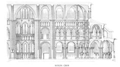 019-EARLY GOTHIC, France - interior elevation, Noyon Cathedral, 1145-1235. Noyon retains its transept arms with rounded ends and the three-storeyed elevation of the imposing Romanesque churches of Normandy incorporating deep galleries, but the wall articulation was enlivened by the introduction of an additional fourth storey, a triforium or low wall-passage between the gallery and the clerestory.