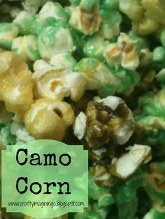 Gelatin Popcorn   1 microwave bag (3.3oz) popcorn, popped   1/4 cup butter   3 tablespoons light corn syrup  1/2 cup sugar   1 small box of flavored gelatin   Crafty Imaginings & Silly Things: Camo Corn