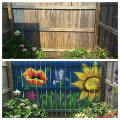 Before And After Of A Fun Mural Friend Painted On My Fence IdeasPatio IdeasBackyard