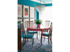 Turquoise & pink dining at it's best....  Banishing the Beige | Atlanta Homes & Lifestyles