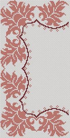 Crochet Border Stitch motivo for corners for tablecloth Crochet Borders, Cross Stitch Borders, Cross Stitch Flowers, Cross Stitch Designs, Cross Stitching, Cross Stitch Embroidery, Embroidery Patterns, Cross Stitch Patterns, Crochet Patterns