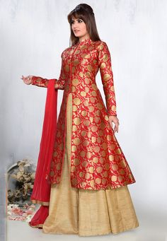 Art Silk Lehenga in Golden and with Red Brocade Kameez Indian Gowns Dresses, Indian Fashion Dresses, Indian Designer Outfits, Pakistani Dresses, Indian Outfits, Brocade Dresses, Stylish Dress Designs, Designs For Dresses, Stylish Dresses