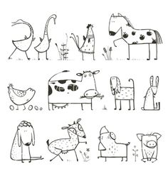 Funny Cartoon Farm Domestic Animals Collection for. - - Funny Cartoon Farm Domestic Animals Collection for… – - Doodle Drawings, Easy Drawings, Doodle Art, Funny Drawings, Coloring For Kids, Coloring Books, Coloring Pages, Colouring, Animal Sketches