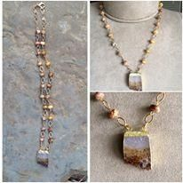 Raw Citrine Pendant on a crazy lace agate chain