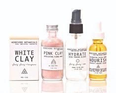 Facial Skin Care Set. 100% Natural. Vegan. Pink Clay Mask. Facial Toning Elixir. White Clay Soap.