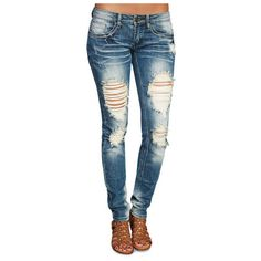 Machine™ Ripped & Rugged Skinny Jeans ($40) ❤ liked on Polyvore
