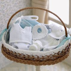 Miniature baby basket clothes, scale 1:12