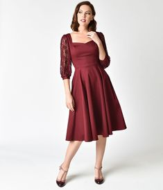 https://www.unique-vintage.com/products/1950s-style-burgundy-three-quarter-sleeve-lace-adrienne-swing-dress