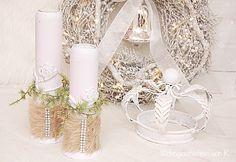 Vintage Kerzenständer - 2 Leuchter Rosa - ein Designerstück von Wohngeschichten-von-K- bei DaWanda