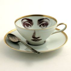 Altered Porcelain Eye Cup Tea Coffee Saucer Woman Face Vintage White Brown Romantic whimsical op Etsy, 30,00€