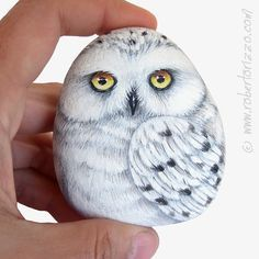 Stone Painted Snowy Owl Rock Painting Art by by RobertoRizzoArt