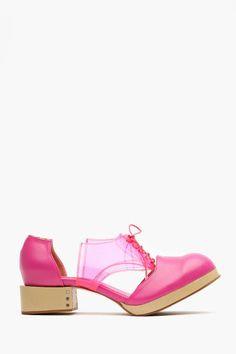 Deandri Charlie Cutout Oxford - Neon Pink