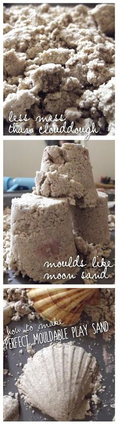 Creative Playhouse: Perfect Mouldable Play Sand Because my TA will no longer allow me to make moon sand. Sensory Activities, Craft Activities For Kids, Sensory Play, Summer Activities, Toddler Activities, Projects For Kids, Crafts For Kids, Indoor Activities, Toddler Crafts