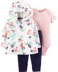 Three essential pieces in one pack, this set features a collectible bodysuit, coordinating pants and a snuggly fleece-lined jacket to make layering easy!
