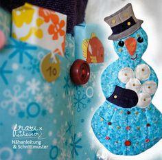 Nähe den Adventskalender Schneemann! Coin Purse, Coins, Etsy, Products, White Christmas, Snowman, Advent Season, Rooms, Coin Purses