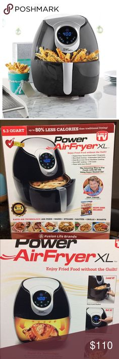 5.3 qt. Power Air Fryer XL Brand New  The Power 5.3 qt. Air Fryer XL lets you serve and enjoy your favorite fried dishes, guilt free Makes 4-6 servings per use Features a timer with auto shutoff Up to 400 degrees F cooking Easy, wipe clean touch panel with 7 preset programs: French fries, roast, shrimp, bake, chicken, steak, fish 1700 watts 5.3 qt. capacity Includes: Nonstick removable aluminum bowl Fryer Recipe booklet with 27 recipes Wipe clean exterior Plastic Dishwasher safe parts…