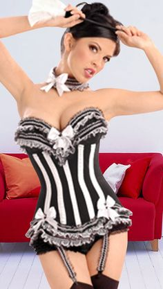 102c692eba Black And White Imitated Silk Fabric Lace Sweetheart Sexy Corset And Panty  Set - Bustiers   Corsets - Sexy Lingerie - Photo