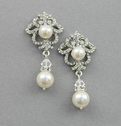 Bridal Dangle Earrings Wedding Crystal by LavenderByJurgita
