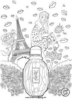 coloriage parisienne yves saint laurent