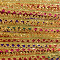 Multicolor and gold gota patti ribbon - gota border for Indian dresses
