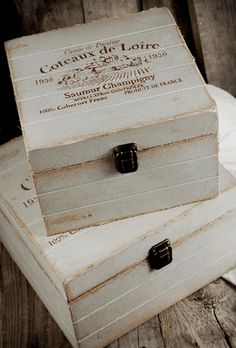 """Cloth Covered Square Wood Boxes Coteaux de Loire (2 boxes 9-3/4"""" & 8"""" )"""