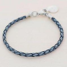 Silver and leather wristband bracelet, 'Walk of Life in Blue' - 999 Silver Blue Leather Charm Wristband Bracelet Guatemala (image 2b)