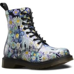 Dr. Martens Slime Floral Pascal Short Lace-Up Short Low Boot ($150) ❤ liked on Polyvore featuring shoes, boots, ankle booties, purple, purple booties, laced up boots, floral lace up boots, laced boots and low ankle booties