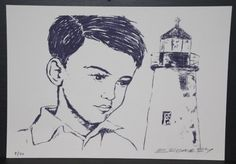"""DAVID BROMLEY """"Boy With Lighthouse"""" Signed Limited Edition of only 40 Lithograph - Dark Blue. Image Size: 20cm x 30cm"""