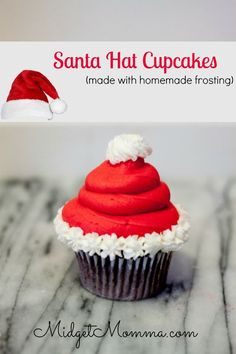 Santa Hat Cupcake. These Sanata hat cupcakses are easy to make make with your favorite cake recipe and with Homemade Icing. They make a great Christmas Party Treat. These Santa Hat Chrimstas cupcakes are Christmas desserts that kids will love