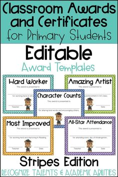 These end of the year awards are perfect to recognize your students for their unique talents and abilities! These awards are EDITABLE and feature a Striped background. Perfect for Primary Students and Elementary Students in Kindergarten, First Grade, Second Grade, Third Grade, Fourth Grade, or Fifth Grade! Back to School idea - Use these awards year round for positive reinforcement as a good behavior incentive or for rewarding individual student academic accomplishments and achievements.