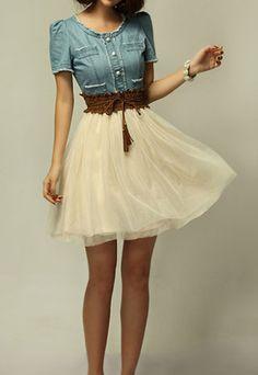Vintage contrast color denim spliced chiffon shirred dress