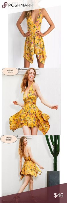 Forever Floral Bent Bow Hem Halter Romper  Forever Floral Bent Bow Hem Halter Romper. Lined bodice & Shorts. Invisible back zipper. Adjustable Spaghetti straps. Deep V triangle halter. 95% crinkle polyester, 5% cotton. Small: bust 32-34, waist 24, length 29 inches. Medium: bust 34-36, waist 25, length 30 inches. Large: bust 36-38, waist 26, length 31 inches. Price is firm unless bundled. Haute Ellie Pants Jumpsuits & Rompers