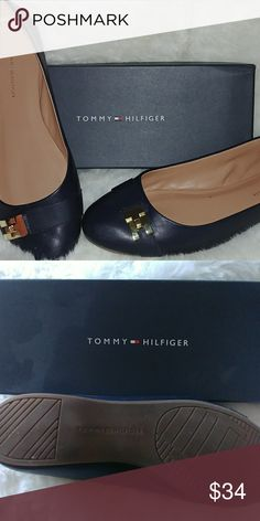 Tommy Hilfiger navy flats Medium navy blue flat with gold buckle accent. Only worn twice. Cute with pants or skirt. Tommy Hilfiger Shoes Flats & Loafers
