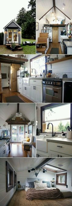 A luxurious 24 tiny house created by Portland-based Tiny Heirloom, the team from HGTVs Tiny Luxury. The kitchen features a large farm sink, concrete countertops, an apartment size refrigerator, and a 24 four-burner electric range. Tyni House, Tiny House Living, House Bath, Farm House, Tiny House Movement, Tiny House Plans, Tiny House On Wheels, Tiny House With Stairs, Apartment Size Refrigerator