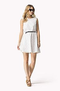 Floral lace with accent lace along the sides defines this sleeveless cotton dress. Flattering boat neck, regular fit with a slightly flared skirt. The belt adds contrast and contour for a flattering look. Hits at mid thigh. Fully lined.<br/><br/>Our model is 1.76m tall and is wearing a size S Tommy Hilfiger dress.